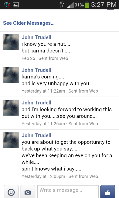 John Trudells Death Threat Message to Richard Boyden